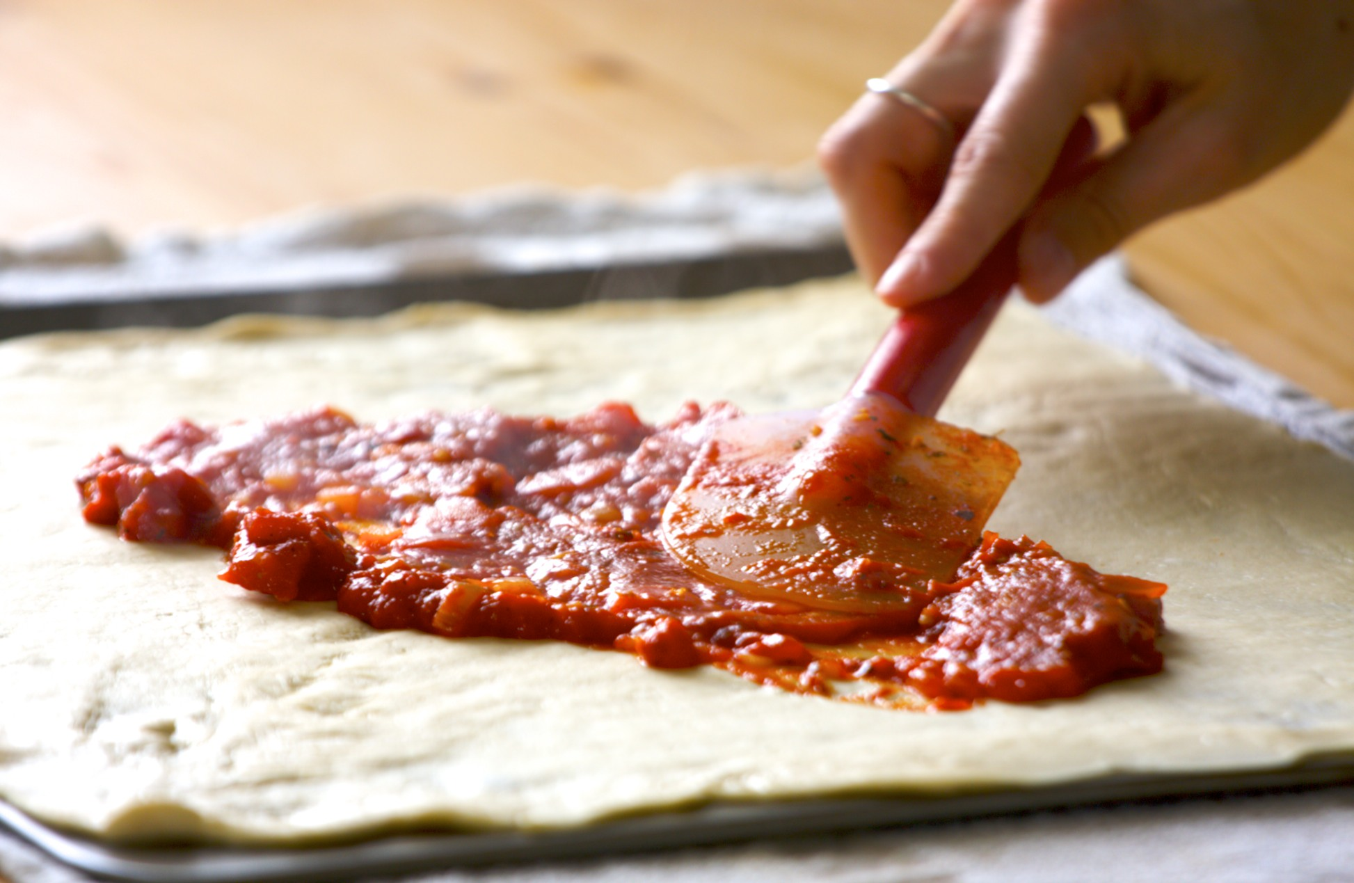 Thin Crust Pizza Dough and a Simple Sauce