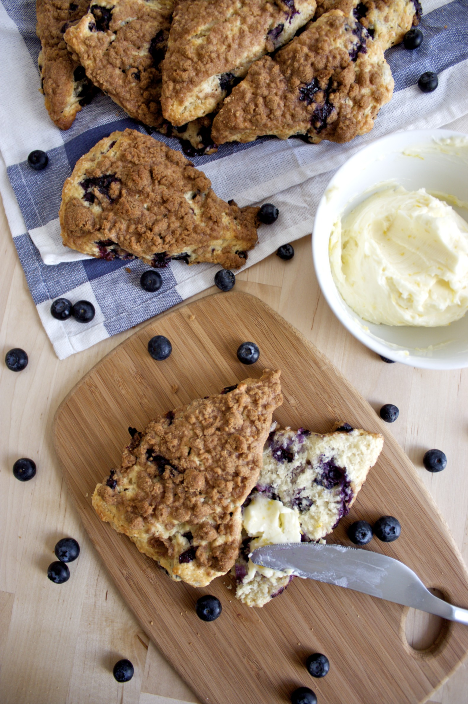 Blueberry Streusel Scones with Sweet Lemon Butter