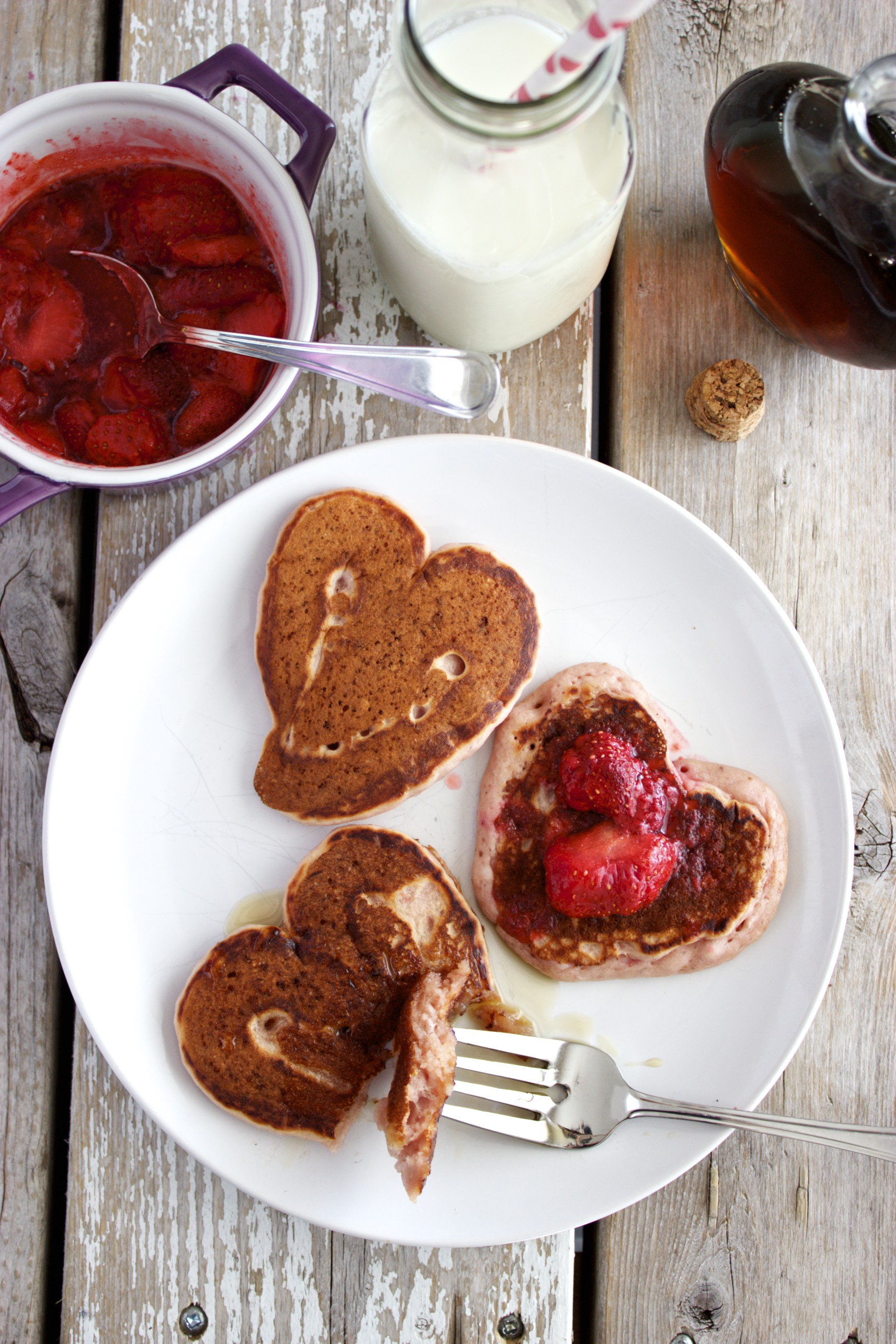 Strawberry Heart Pancakes