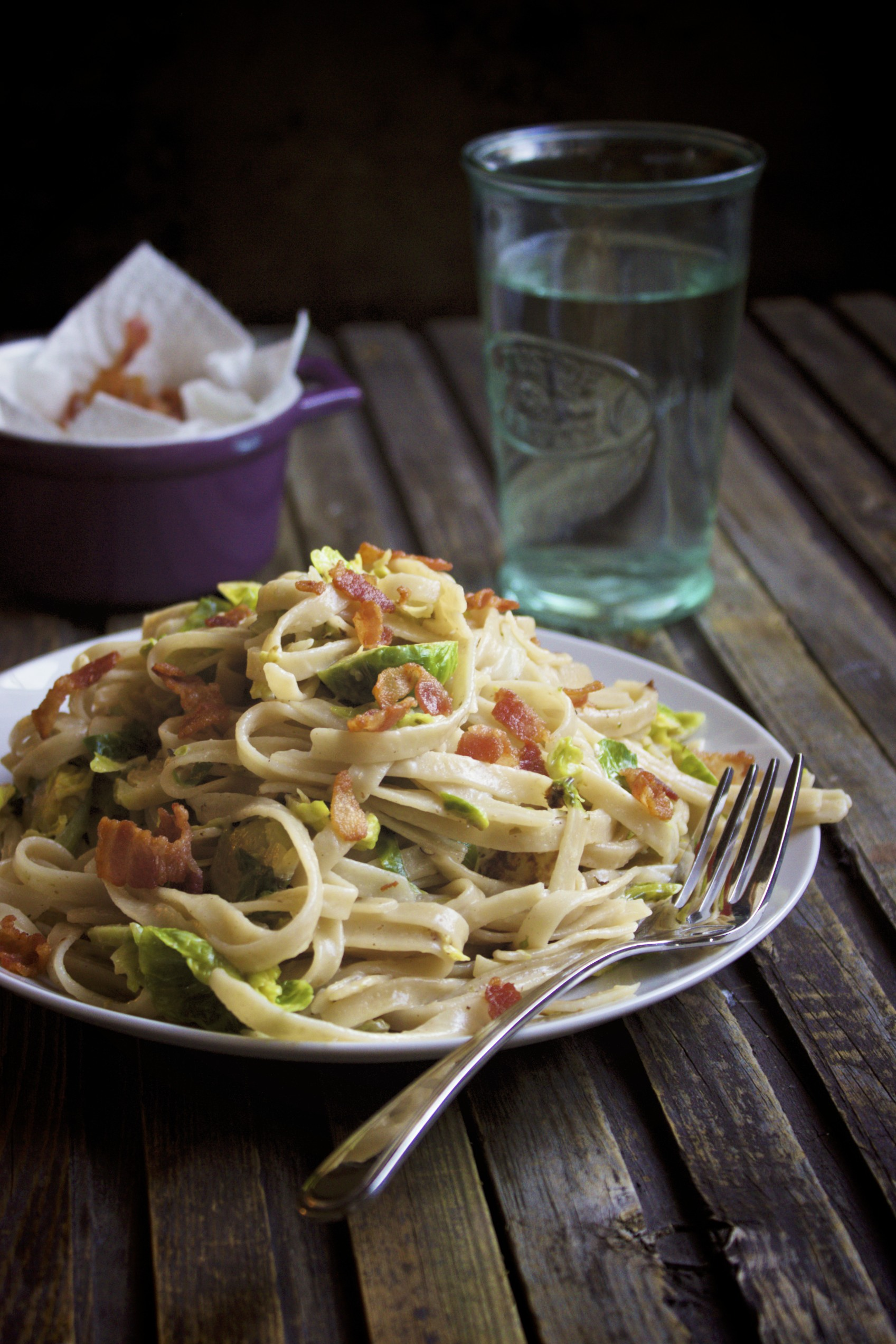 Brussels Sprout Bacon Fettuccine
