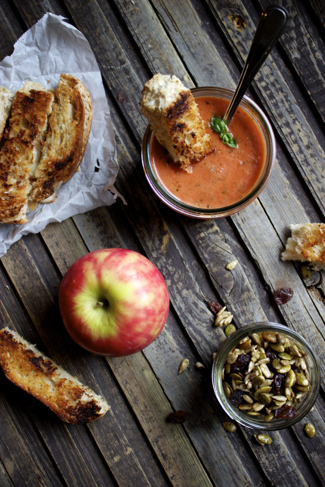 Lunch Box: Quick Tomato Basil Soup w/ Grilled Cheese Sticks & Seed Snack