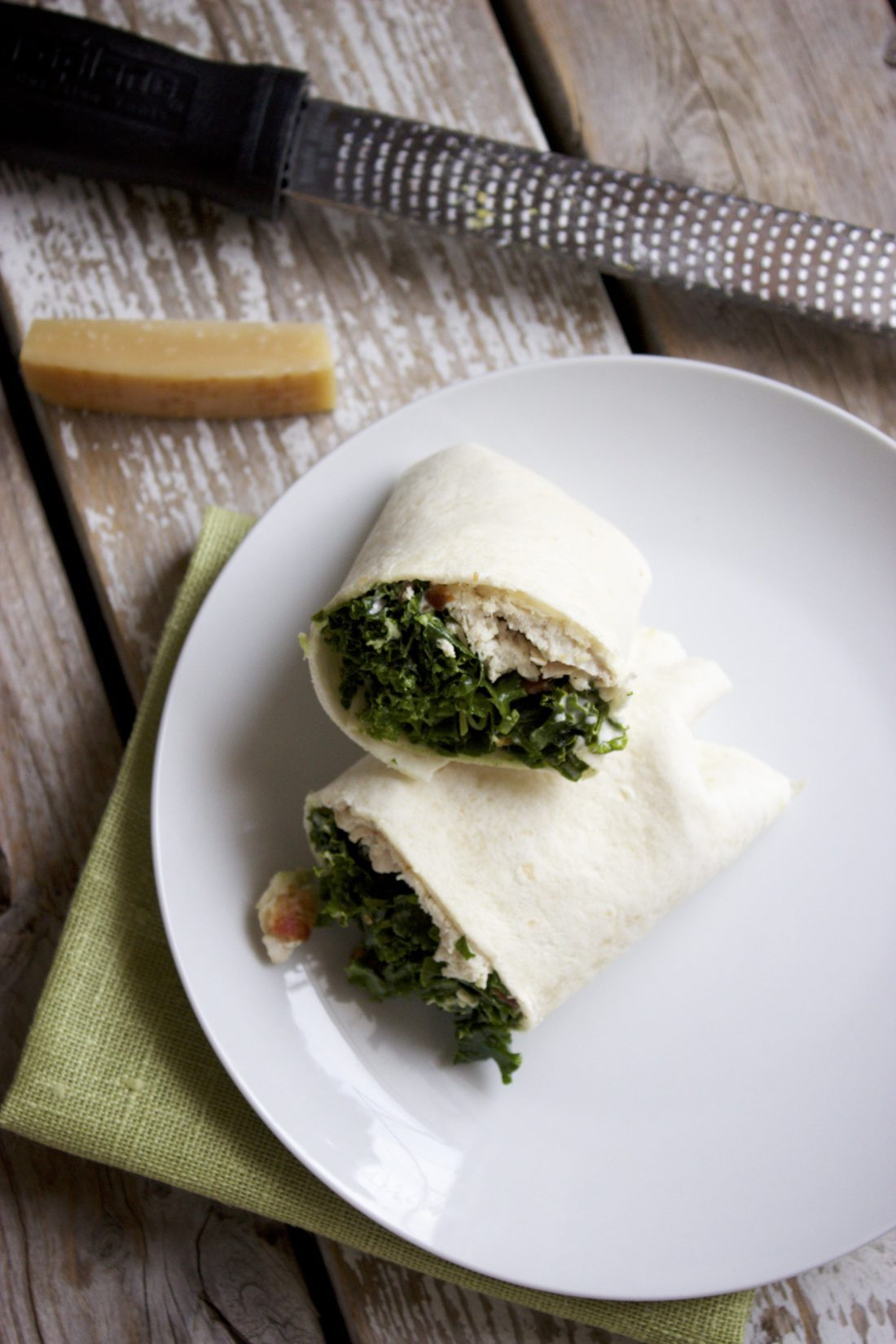 Massaged Kale Chicken Caesar Wraps