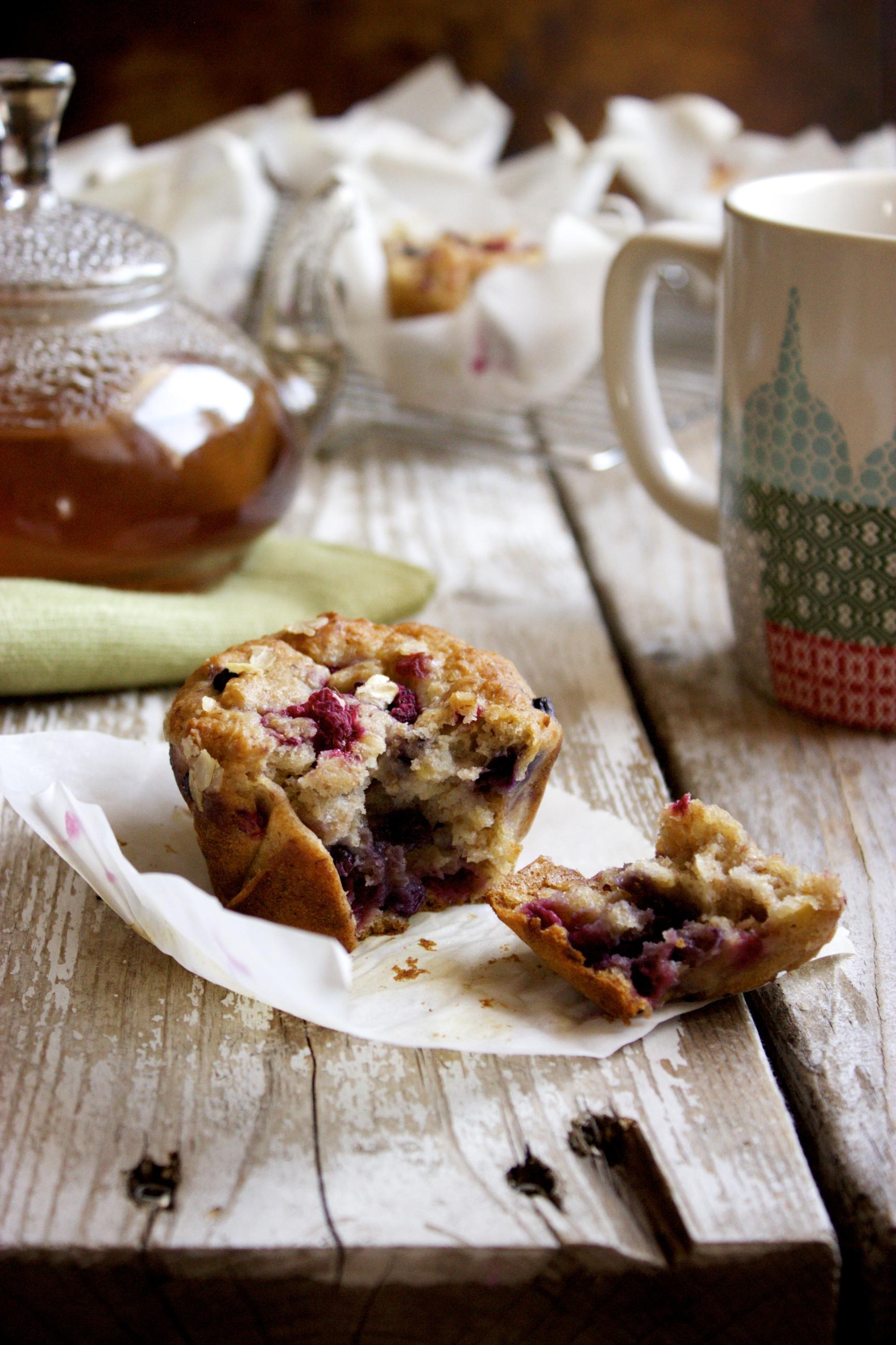Honey Oat Banana Berry Muffins