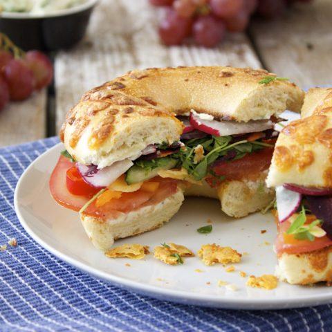 Jalapeño Rainbow Veggie Bagel Sandwiches