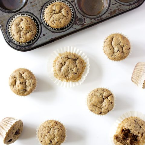 (Easy Gluten-Free) Flourless Peanut Butter Chocolate Chip Mini Muffins