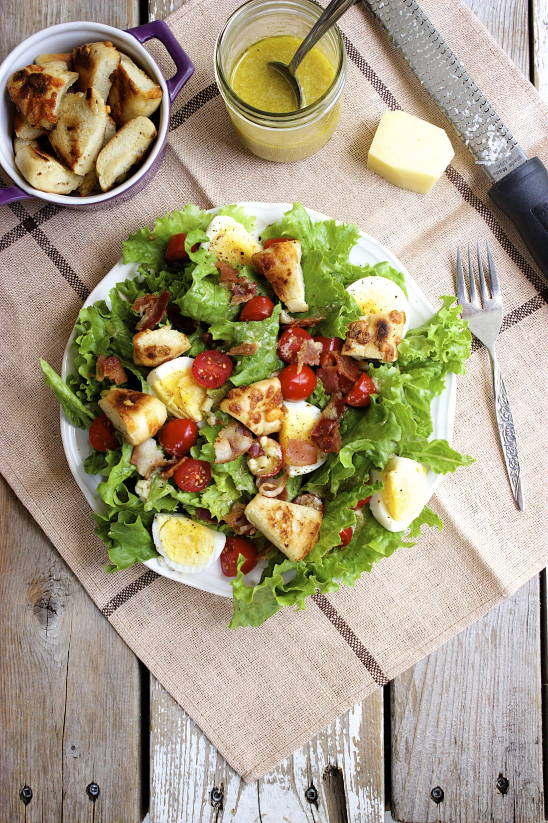 B.E.L.T. Salad with Quick Bagel Croutons and Parmesan Vinaigrette