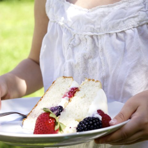 The Perfect Tender White Cake (with whipped cream cheese cloud frosting & berries)
