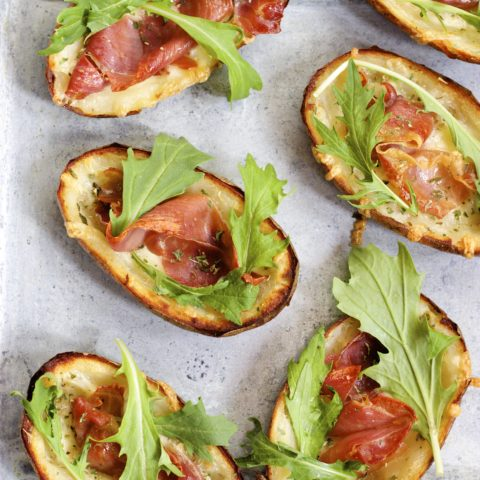 Garlic & Herb Potato Skins with Crispy Prosciutto and Arugula