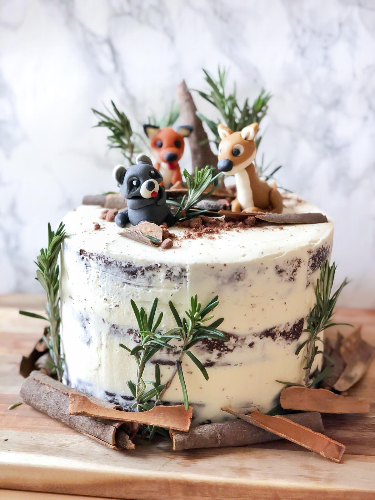 Pleasing Woodland Animals Cake Ks Funny Birthday Cards Online Alyptdamsfinfo